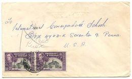 Trinidad & Tobago 1950 Cover Port-of-Spain To Scranton, PA W/ Scott 57 X 2 - Trinidad & Tobago (...-1961)