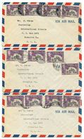 Trinidad & Tobago 1950 3 Airmail Covers Port-of-Spain To U.S. W/ Scott 57 X 4 - Trinidad & Tobago (...-1961)