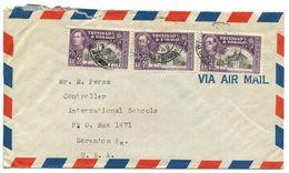 Trinidad & Tobago 1949 Airmail Cover Port-of-Spain To U.S. W/ Scott 57 X 3 - Trinidad & Tobago (...-1961)