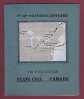 120718A MARINE BATEAU - 1936 LIVRET Et PRIX Compagnie Générale Transatlantique Croisières ETATS UNIS CANADA - Bateaux