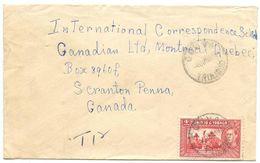 Trinidad & Tobago 1949 Cover Couva To Scranton, PA W/ Scott 53A Memorial Park - Trinidad & Tobago (...-1961)