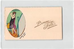 "0158 ""FIGURA FEMMINILE - TOELETTE PUR LE SOIR - BONNE FETES"" ANIMATA, DECORAZIONE A POCHOIRS. ORIGINALE - Seasons & Holidays"