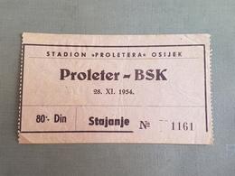Football PROLETER OSIJEK Vs BSK BELGRADE  Ticket 28.11.1954. - Match Tickets