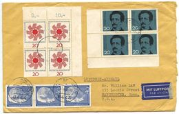 Germany, West 1964 Airmail Cover Strasskirchen To U.S. W/ Blks Of Scott 895-896 - [7] République Fédérale