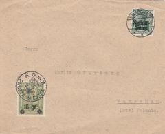 Occupation Allemande En Pologne Lettre Warschau + Vignette - Occupation 1914-18