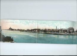 Souvenir De Port Said Panorama De 5 Cartes Colorisee Bateaux Navires - Port Said