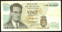 BELGIQUE - 20 FRANCS - Usagé - Used - N° 4 D 7649887. - [ 2] 1831-... : Belgian Kingdom