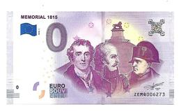 BELGIQUE   WATERLOO MEMORIAL 1815   (billet 0 Euro) - EURO