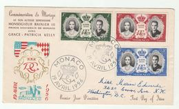 1956 MONACO  FDC ROYAL WEDDING Stamps Royalty Cover Princess Grace - FDC