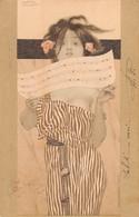 """0167 """"RAGAZZA CON SPARTITO"""" ANIMATA. FIRMATA RAFHAEL KIRCHNER. ILLUSTRATORE DEL '900. CART  SPED 1902 - Cartes Postales"""