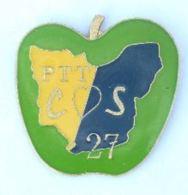 Pin's PTT COS 27 - Carte Du Département De L'EURE Dans Une Pomme  - A.c.s.e.l - H163 - Mail Services