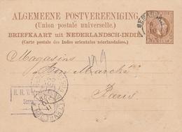 Indes Neerlandaises Entier Postal Pour La France 1889 - Niederländisch-Indien