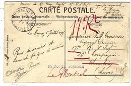 """WWI - 1917- """"  EN EQUIPE AGRICOLE  """"   C P A De La Muraz (Hte Savoie ) - Marcophilie (Lettres)"""