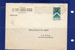 ##(DAN187)-1957-busta Affrancata Con Il Valore Isolato L-25  Prudenza Sulla Strada-semaforo Da  Pallanza Per Intra - 6. 1946-.. Repubblica