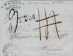 1862- Letter From Copenhagen To Reims -  T.T.36   Rating 14 D ,then 9 D. - 1851-63 (Frederik VII)
