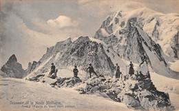 """0173 """"(AO) SOUVENIR DE LA HAUTE MONTAGNE - ARRET A L'AIGUILLE DE GEANT M. 4014"""" ANIMATA. CART  NON SPED - Aosta"""