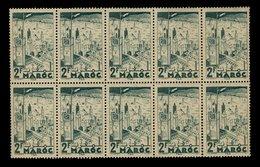 Maroc 1939 - Neuf ** - Y&T N° 188 Fès 2f - Planche De 10 Timbres - Maroc (1891-1956)