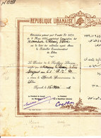 1928 LIBAN ATTEST. MEDAILLE SIGNEE RONEOTYPEE CHARLES DEBBAS PRESIDENT REP. LIBANAISE ET BECHARA EL KHOURY PT DU CONSEIL - Documents Historiques