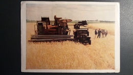 CARTE POSTALE RUSSE RUSSIE MOISSONNEUSE BATTEUSE CAMION RUSSE - Landbouw