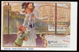 """WIEN - CP Publicitaire """"HOTEL CONTINENTAL"""" - (Très Belle Illustration Style 1900) - Vienne"""