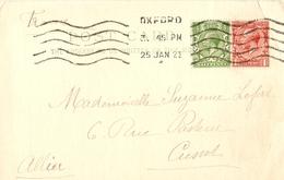 Grande-Bretagne 1922 - Petit Lot De 2 Post Card - De Oxford à Cusset, France - Cachet De Réception Cusset, Allier - Lettres & Documents