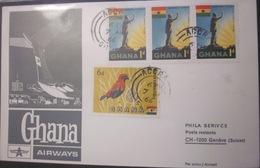 Enveloppe Ghana - Oiseau - Statue - Avion - 1966 - Ghana (1957-...)