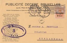 CP Entête Publicité Decere Affr. OC13 Obl Méc Allemande Brüssel 25 II 1918 + Censure (?) Vers Sc Morlanwelz - WW I