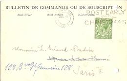 Grande-Bretagne 1928 - Carte Postale Commerciale - Bulletin De Commande - Book Order -  De Londres à Paris (cachet Récep - Lettres & Documents