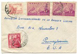 Spain 1950 Airmail Cover Albayzín, Granada To Scranton, PA W/ Scott 665b & C111 X 2 - 1931-50 Covers