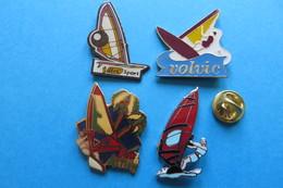 Lot De 4 Pin's, Planche A Voile, Windsurfing - Badges