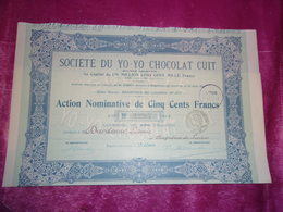 YO - YO CHOCOLAT CUIT (1912) Bagneres De Luchon,haute Garonne - Aandelen