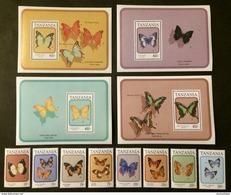 Tanzania 1991** Mi.894-01,bl.155,bl.156,bl.157  Butterflies MNH [20;132] - Schmetterlinge