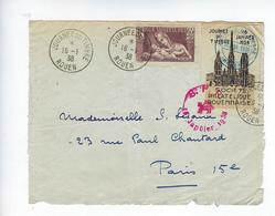 Enveloppe Découpée Journée Du Timbre 1938 Rouen Pour Sauver La Race Cathédrale Prophylaxie Sanitaire - Stamp's Day