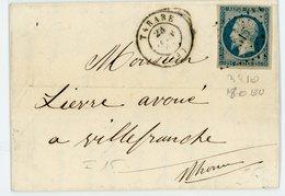 RHONE LAC 1853 TARARE PC SUR N°10 PRESIDENCE 25C SUPERBE + T15 PETITE LETTRE TRES PLAISANTE - 1852 Luigi-Napoleone