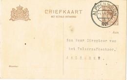 29240. Entero Postal ALPHEN A RIJN (Holland) 1921 - Periode 1891-1948 (Wilhelmina)