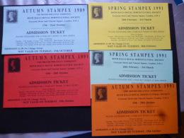 CARDS 5 STAMPEX CARDS 1889/1991 - Post & Briefboten