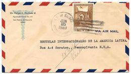 Dominican Republic 1949 Airmail Cover San Pedro De Macorís To U.S. W/ Scott C71 Ruins - Dominicaine (République)