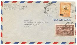 Haiti 1947 Airmail Cover Port-au-Prince To U.S. W/ Scott C44 & RA7 - Haiti