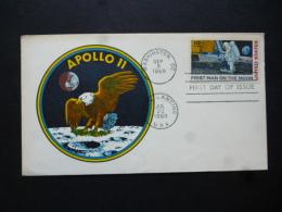 USA FDC FIRST MAN ON MOON APOLLO II POSTMARK WASHINGTON / MOON LANDING USA FDC 1969 - Non Classés