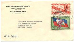 Haiti 1959 Airmail Cover Port-au-Prince - Club Philatelique D'Haiti W/ Scott 449 & RA27 - Haiti