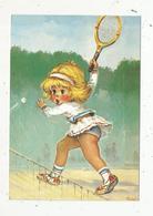 Cp, Illustrateur , Signée Michel Thomas , LES MÔMES , Tennis ,la Montée Au Filet , Vierge - Thomas