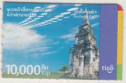 LAOS - Temple, Tigo Mini Recharge Card 10000 Kip, Exp.date 09/09/3000, Used - Laos