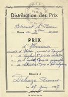 DISTRIBUTION DES PRIX : 1957, Externat Saint-Pierre, Rue Du Moulin-Vert, Paris, Prix D'Honneur, Bernard Deleuze, 2 Scans - Diplômes & Bulletins Scolaires