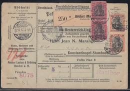 DR Paketkarte Mif Minr.2x 89II,2x 93II Höchst 22.12.17 Perfins MLB Gel. In Türkei - Deutschland