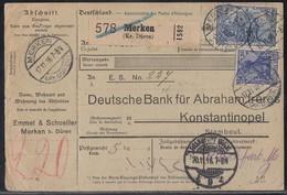 DR Paketkarte Mif Minr.87II,95B Merken (Kr. Düren) 17.11.16 Gel. In Türkei - Deutschland