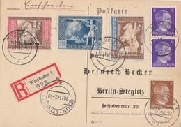DR R-Karte Mif Minr782,2x 785,823-825 Wiesbaden 19.11.42 Gel. Nach Berlin - Briefe U. Dokumente