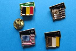 Lot De 4 Pin's,football,World Cup 90 ITALY,drapeau,BELGIUM,URUGUAY,USA,EIRE, Soccer - Football