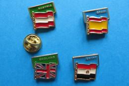 Lot De 4 Pin's,football,World Cup 90 ITALY,drapeau,AUSTRIA,SPAIN,ENGLAND,EGYPT - Football