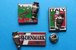Lot De 3 Pin's,football, EURO 2004, DENMARK,BULGARIA,ITALY, CUP, Pokal - Football