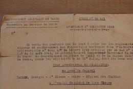 Gouvernement Militaire De Paris, Avancement Au Grade De Caporal, 1946 - Documents
